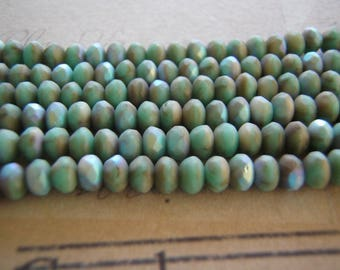 Turquoise and Beige Beads Matte AB 5 x 3 mm Faceted Rondelle Glass 10 Beads