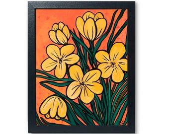 Yellow Crocus Print - Floral Wall Art Decor - Colorful Modern Wall Art Decor - Botanical Flower Modern Art Print