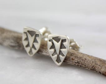 Stamped Native Shield Silver Post Earrings