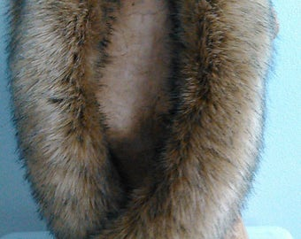 Tan Faux Fox Fur Muffler stole wrap