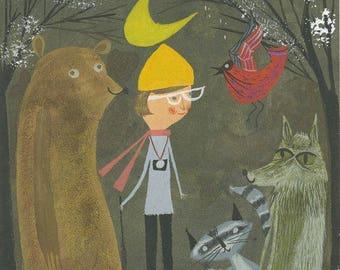 Vivienne's nightly walk. Original gouache painting by Matte Stephens.