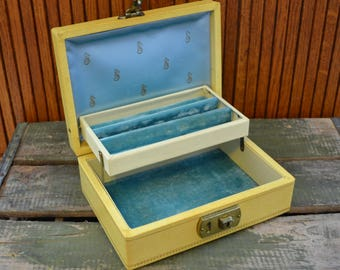 Vintage Yellow Jewelry Box with Blue Interior - Key -  Royal Hill Vintage