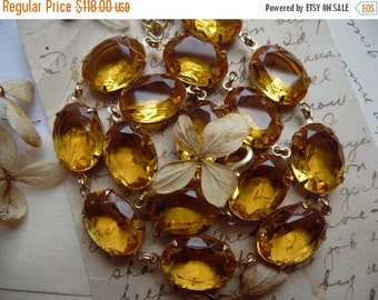 SALE QUICK SHIP Gift. Citrine statement necklace, Anna Wintour necklace, georgian collet, georgian jewelry, Marie Antionette, September Issu
