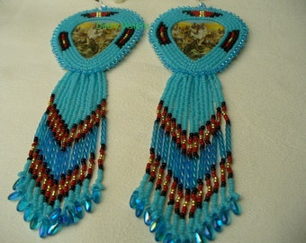 Native American Style Rosette stitched Leaping Wolf earrings in Kingsman Turquoise
