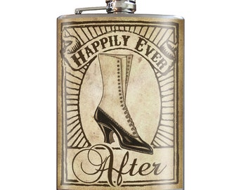 Happily Ever After -  Wedding and Bridal Shower Gifts - 8oz Stainless Steel Flask - comes in a GIFT BOX -  by Trixie & Milo