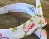 Flamingo And Palm Tree Knot Tie Headband Bandanna Head Wrap Rock Fashion Headband