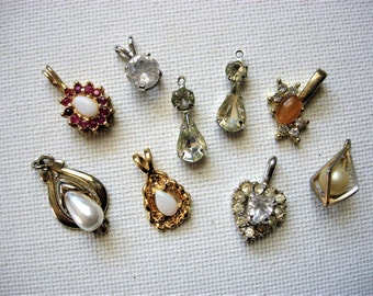 Pretty Lot of Various Vintage Rhinestone-Gems-Faux Pearl Pendants/Charms