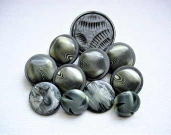 Neat Lot of Various Vintage Gray Plastic Buttons