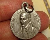 Flash Sale St Saint Ignatius of Loyola Ignacio de Religious Medal Pendant Vintage Aluminum Old