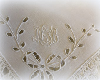 set of 8 vintage monogrammed napkins white on white cloth napkins hand embroidery delicate lace edging