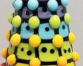 REALLY Rainbow Pop Dot Dalek  --Handmade Lampwork Bead