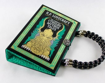 Book Purse- HP Lovecraft - made from recycled leatherbound book