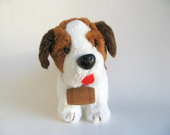 Vintage St. Bernard Dog Stuffed Animal by R. Dakin wearing a Red Collar with Wood Brandy Barrel Three Colored Dog Red Tongue 1980s Toy