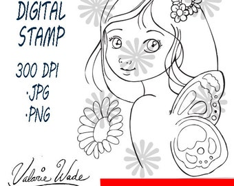 Hand Drawn Digital Stamp Fairy Fairie instant download