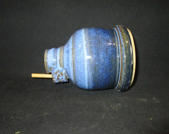 bird bottle house in blues, stoneware pottery, yard art, all season