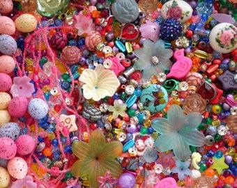 Huge Destash Bead & Embellishment Lot - Bright Colorful Kids Crafting Supply Lot, Glass Plastic Metal Stone Beading Jewelry + Craft Supplies