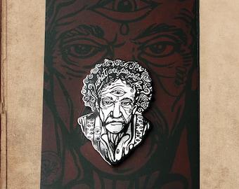 """Kurt Vonnegut Printed Hard Enamel Pin - 1.5""""  Slaughterhouse Five KV"""