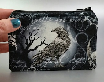 Wicked - Coin Purse - Change Purse - Zippered Pouch - Skull - Raven - Moon - Gothic  - Black - Gray - Spooky - Dark