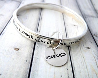 personalized bangle, personalized bracelet, religious bracelet, I can do all things through Christ who strengthens me
