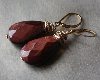 Red Tiger Eye Gold Fill Earrings, Faceted Tiger Eye Earrings, Gold Filled Dangle Earrings, Gemstone Earrings, Wire Wrapped, Leverbacks