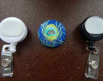 Fabric Covered Button for Clip on Retractable Badge Reel - Peacock Feather