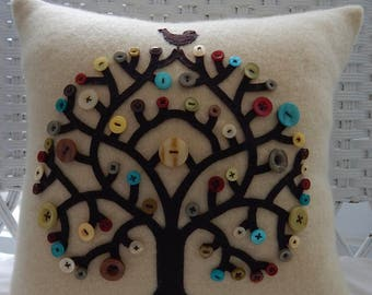 Recycled Cashmere Sweater - Bird Button Tree on Yellow