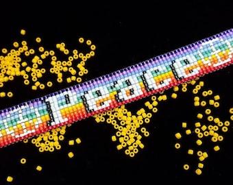Peace rainbow bead-woven bracelet