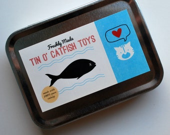 Tin of Catnip Filled Fish - 3 Cat Toys made with upcycled materials