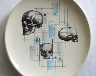 Victorian Era Skull Medical Illustrations on Vintage Franciscan Oasis Plate
