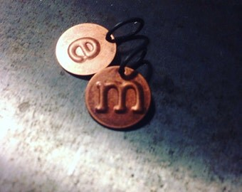 Copper stamped letter initial charm