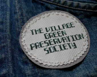 """The Village Green Preservation Society Kinks Inspired Cross Stitched Jacket Patch/Hand Stitched/The Kinks/Sew On Patch 3.5"""" Round"""