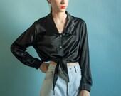 black satin tie crop top / waist tie top / long sleeve cropped blouse / s / m / 1842t / B18