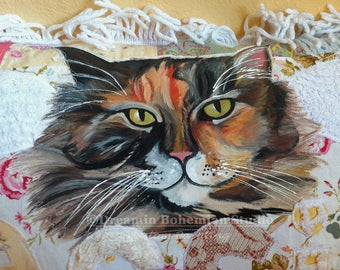 Pet Memorial Pillow, Custom Painted Cat Portrait Artist, Floral Cottage Chic, Handpainting for Cat People, Bereavement Gift 4 Fur Baby Loss