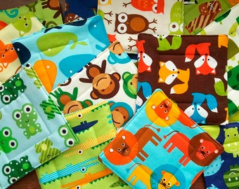 Kids Coaster Bundle of 15, Party Favor, Stocking Stuffer, School reward, Zoo Animals, Unique, Handmade OOAK