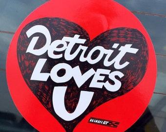 Detroit loves U sticker