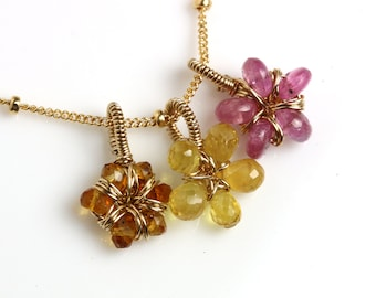 Pink Tourmaline and Yellow Sapphire Flower Charm Necklace