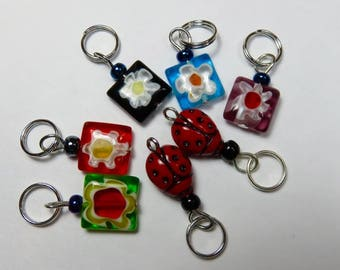 Handmade Stitch Markers -- Millefiori Glass Flower Squares and Ladybugs