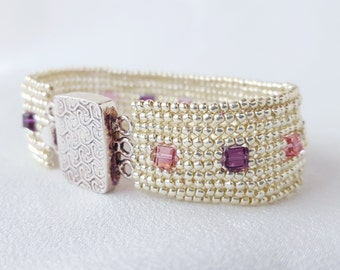 Beadwoven Cuff Bracelet Crystal Brick Series - Rose and Amethyst