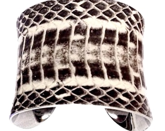Natural Snakeskin Dark Row Cut Cuff Bracelet  - by UNEARTHED