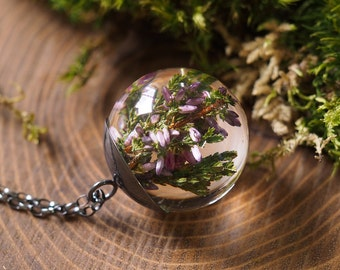 Purple Heather Pendant, Botanical Necklace with Sterling Silver Chain, Romantic Jewelry, Resin pendant, Resin Necklace