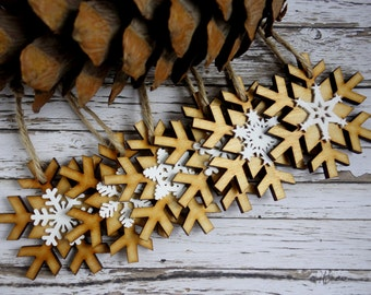 Natural wood & white laser cut double snowflake Christmas ornaments. Modern rustic decorations, set of 6