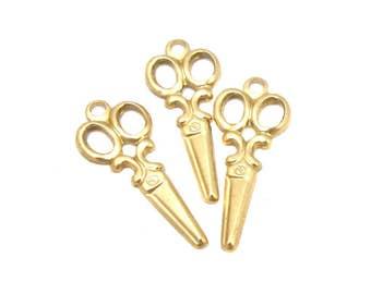 Tiny Brass Vintage Style Scissor Charms (24X) (M674-A)
