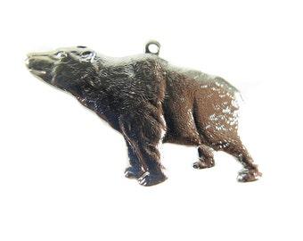 Rhodium Plated California Bear Pendants (2x) (M575-B)