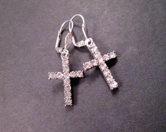 Rhinestone Cross Earrings, White Rhinestone Pendants and Silver Dangle Earrings, FREE Shipping U.S.