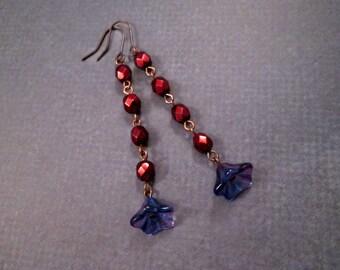 Flower Earrings, Berry Red and Purple, Long Copper Dangle Earrings, FREE Shipping U.S.