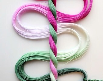 """Size 40 """"Candy Mint"""" hand dyed thread 6 cord cordonnet tatting crochet cotton"""