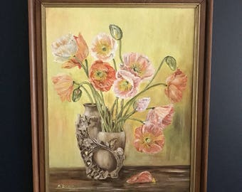 Vintage floral painting of pink, orange and red poppies flowers in a vase 'Bon Fleur' by Maria Dowd