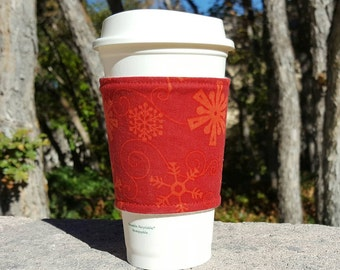 FREE SHIPPING UPGRADE with minimum -  Fabric coffee cozy / cup holder / coffee sleeve - Holiday Christmas Red on Red