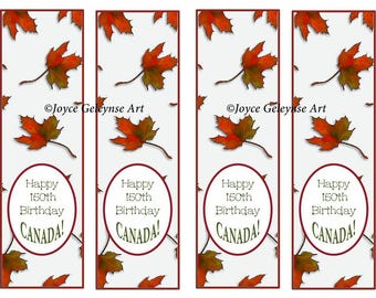 Printable Bookmarks, CANADA, Happy 150th Birthday Canada, Brilliant Maple Leaves, Leaf, Original Art, Canada Day, Instant Download