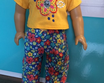 18 inch doll clothes - Funky Bright Pajamas- shirt and pants